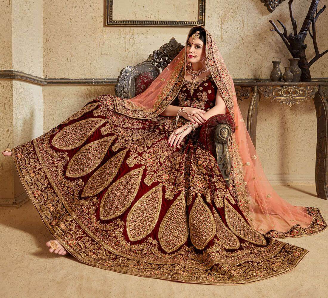 Beautiful Maroon Bridal Lehenga Choli Designs for Wedding