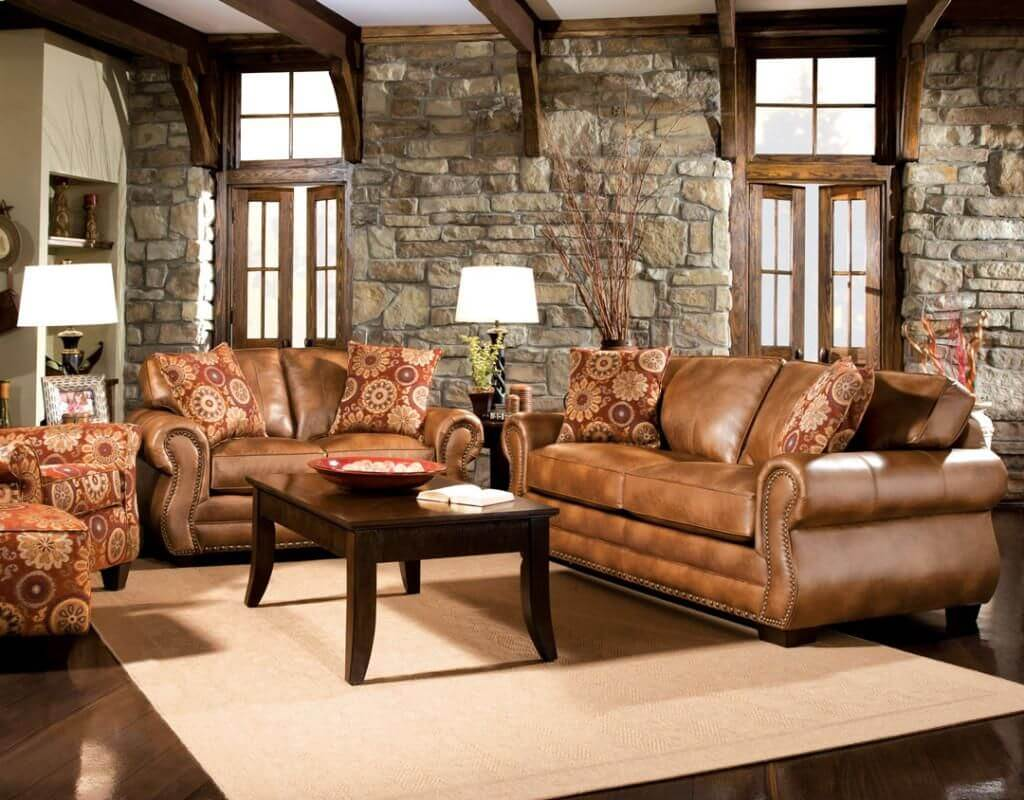 Rustic decor with leather elements