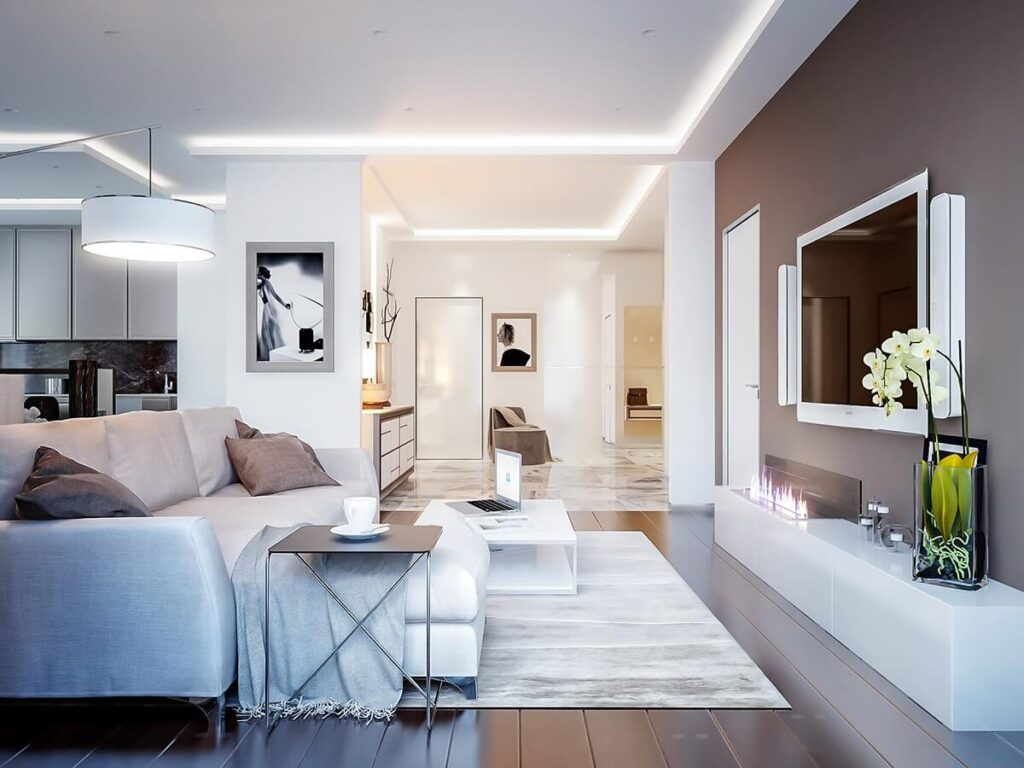 Warm neutrals for walls and flooring