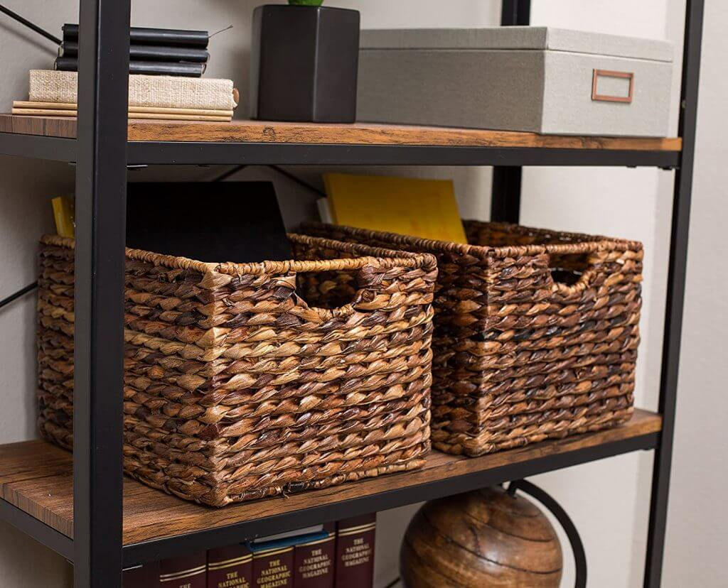 Wooden Shelves and Basket Storage